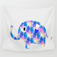 Ella The Elephant Wall Tapestry by Kathleen Sartoris