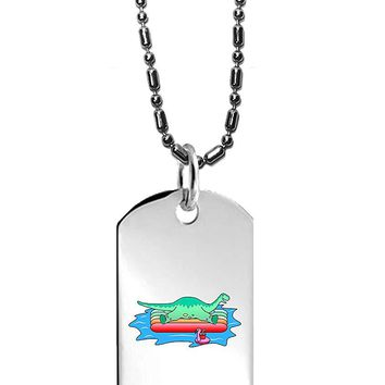 Hat Shark Brontosaurus Dinosaur On Floating Raft In the Ocean Fun Cute - 3D Color Printed Military Dog Tag, Luggage Tag Pendant Metal Chain Necklace