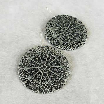 Large Filigree Discs | Bohemian Earrings | Moroccan Jewelry | Ethnic Jewelry | Gypsy Earrings | Boho Earrings | Bohemian Jewelry | Arabesque