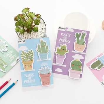 Cute Cactus plants are friends Memo Pad Kawaii Sticky Notes Diy Stationery Scrapbooking Planner Sticker School Office Supplies