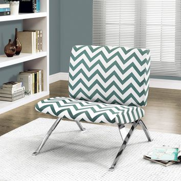 "Teal "" Chevron "" Fabric / Chrome Metal Accent Chair"