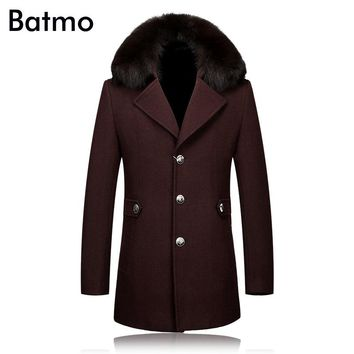 2017 winter trench coat Men Fox fur collar Trench Coat Men Outerwear Casual Coat Men's Jacket Windbreaker Men Trench Coat