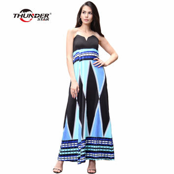 THUNDER STAR Women Sexy Robe CLUB Wear Evening Party Plus Size Tube Boho Split Ladies Maxi long Dresses vestido LX3