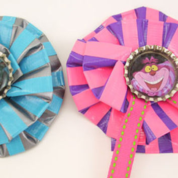 Cheshire Cat  Duct Tape Hair Clips  Two Kitty Combo by PyrateWench