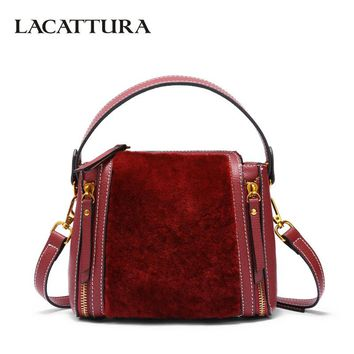 LACATTURA Women Leather Shoulder Bag Luxury Fur Handbag Designer Wristlets Crossbody for Lady Top-handle Bags Double Zipper
