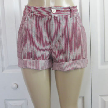 Vintage Red Striped Shorts, Lee Cut Off Denim Shorts, Red and White Engineer Stripes, Jean Shorts, Lee Cutoffs, Hipster Shorts, Womens 12