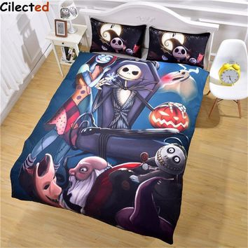 Cool Cilected Hot Design Nightmare Before Christmas Bedding Set Home Bedclothes Unique Skull Duvet Cover Queen King SizeAT_93_12