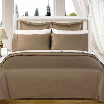 Taupe Solid Down Alternative 4-pc Comforter Set 100% Egyptian cotton 550 Thread count