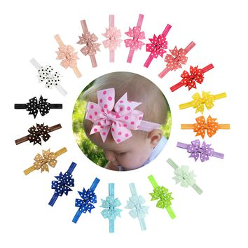 "20pcs/Lot 3"" Polka Dot Grosgrain  Hair Bow Headbands Accessories Hairband Flower for Baby Girl Toddlers Kids Children"