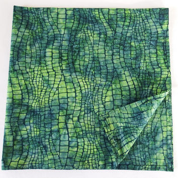 "Off The Beaten Path Bandana / XL Man Bandanas / XLarge Head Scarves / 30"" Square Scarf / Large Square Scarves / Large Green Batik Scarves"