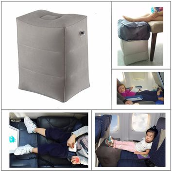 Newest Flocking Airplane Pillow Inflatable Travel Footrest Pillow Flight Pillow For Kids Sleeping Easy Folding Free Shipping