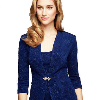 Alex Evenings Plus Jacquard Jacket and Top Set