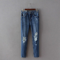 Summer Rinsed Denim Strong Character Jeans Cropped Pants [8173400327]