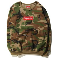 ''Supreme'' Men Embroidery round collar sweater thickening sweater