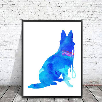 German Shepherd Watercolor Print, Dog Art Print, Dog watercolor illustration, dogs Print watercolor, German Shepherd dog art, dogs poster