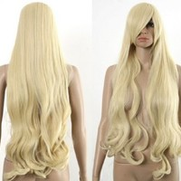 HealthTop Long Wavy Lady Blonde Heat Resistance Gold Cosplay Wig Anime Show & Party & Performance Hair Full Wigs