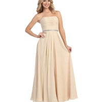 Champagne Beaded Empire Waist Chiffon Gown 2015 Prom Dresses
