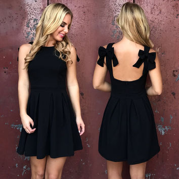 Double Bow Black Skater Dress