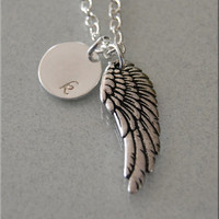 Personalized Angel Wing Necklace, Wing Necklace, Angel Jewelry, Personalized Jewelry, Silver Personalized Necklace, initial wing Charm