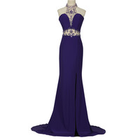 Mermaid Prom Dress 2016 Sexy Backless Halter High Split Beaded Sequin Special Occasion Dress GK Long Purple Prom Dresses