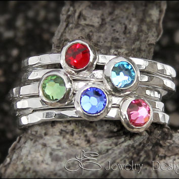 1 BIRTHSTONE STACKING ring - CRYSTAL - Stacking Ring - choose your birthstone - stacking rings, stackable rings gemstone stacking ring