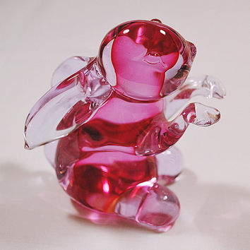 Archimede Seguso, Murano Glass, Bunny Rabbit, Blown Glass, Pink And Clear