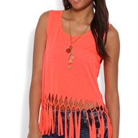 Cropped Tank Top with Knotted Fringe Bottom