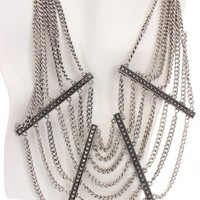 Vintage Silver Draped Chain Collar Necklace