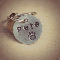 The Pete model Handstamped personalized Tiny pet ID tag with Paw stamp Item 56