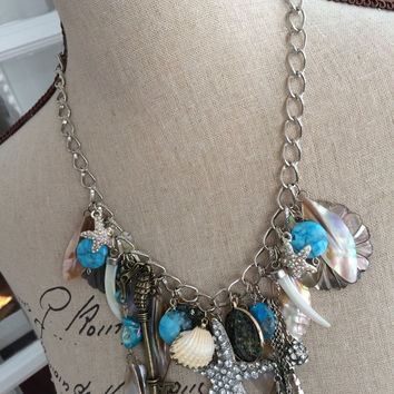 Nautical Charm Necklace - SEA SPELL - Rhinestone Starfish and Sea Inspired Charms Statement Necklace