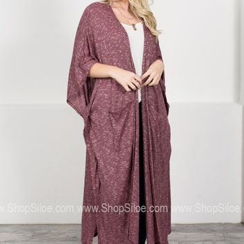 Burgundy Drape Pocket Maxi Cardigan