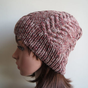 Hand-knit, Cabled and Textured, Slouchy Beanie Hat in 'Autumn Colours'