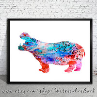 Hippo 2 Watercolor Print, Fine Art Print,Children's Wall Art,animal watercolor, watercolor painting, Hippo watercolor, animal art, Hippo art