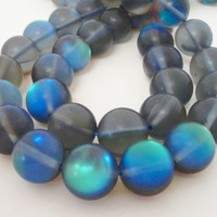 "Blue Moonstone Matte Round Beads,  Synthetic Small Glass Grey Beads for Jewelry Beading, 8mm 7.5"" Strand"