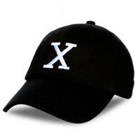 Unisex Black X Embroidery Outdoor Baseball Cap Hats