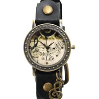 Music Is Life Gold Tone Black Watch