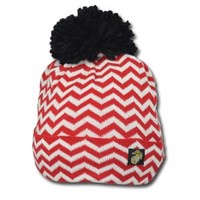 Chevron Striped USMC Beanie with Pom Pom
