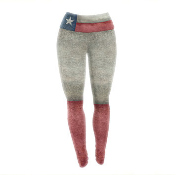 "Bruce Stanfield ""Texas State Flag"" Vintage Digital Yoga Leggings"