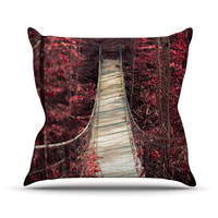 "Ann Barnes ""Enchant"" Red Bridge Throw Pillow"