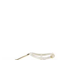 City Classified Born White and Gold Thong Sandals