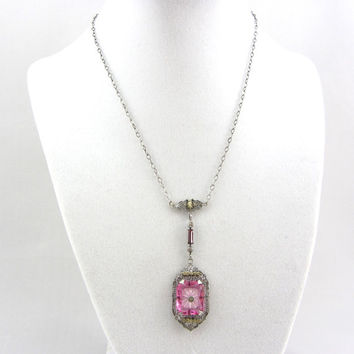 Art Deco Sterling Silver Camphor Glass Pendant Necklace Antique Pink Crystal Lavaliere Wedding Bridal Silver Filigree Jewelry