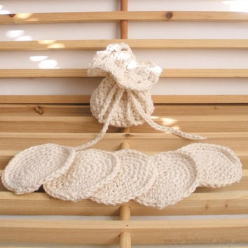 Cotton Soap Saver and Face Scrubbies Set in Ecru, ready to ship.