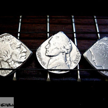 Vintage Coin Mandolin Guitar Pick Set -- Buffalo Nickel-Liberty Head Nickel-Jefferson Nickel