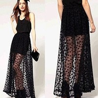 Elastic Waist Skirt Fashion Women Polka Dot Layer Lace Mesh Long Maxi Skirt