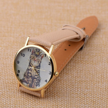 Black Leather Cat Watch Women Dress Quartz Watches + Gift Box