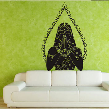 Wall decal art decor decals sticker hands Buddhism woman India Indian Mehndi Buddha OM Yoga success god lord (m66)