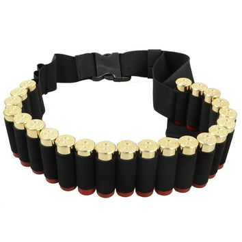 140x5CM 25 Shotgun Shell Bandolier Belt Outdoor Airsoft Hunting Tactical 12 Gauge Ammo Holder Military Shotgun Cartridge Belt
