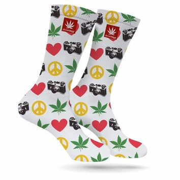 PEACE LOVE WEED PHOTOGRAPY CREW SOCKS