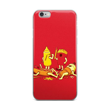 Mustard & French Fries Have a Food Fight With A Hot Dog & Ice Cream Cone Funny Red iPhone 4 4s 5 5s 5C 6 6s 6 Plus 6s Plus 7 & 7 Plus Case