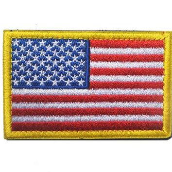 Cool Backpack school 1 Piece US Flag Patch Embroidered Backpack Badge Patches Cool Armband Hook & Loop Sticker for Coat AT_52_3